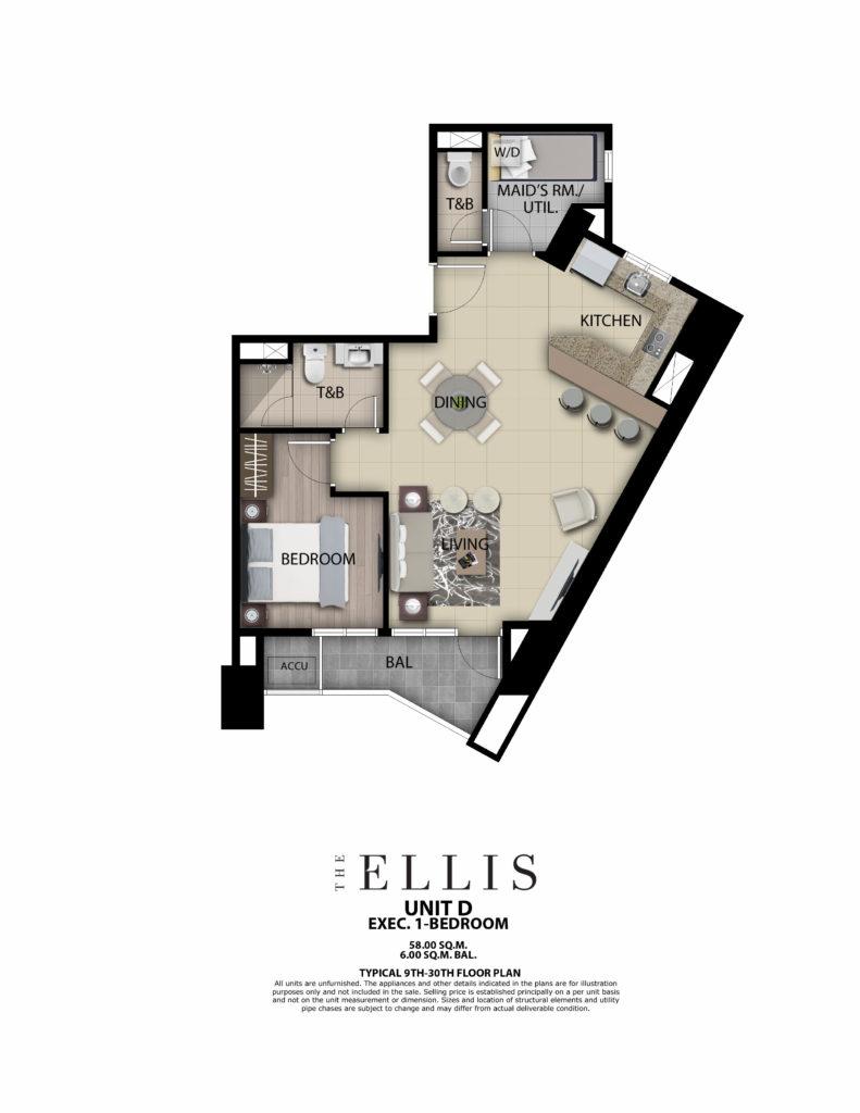 The Ellis 1BR 64 SQM w/ Balcony