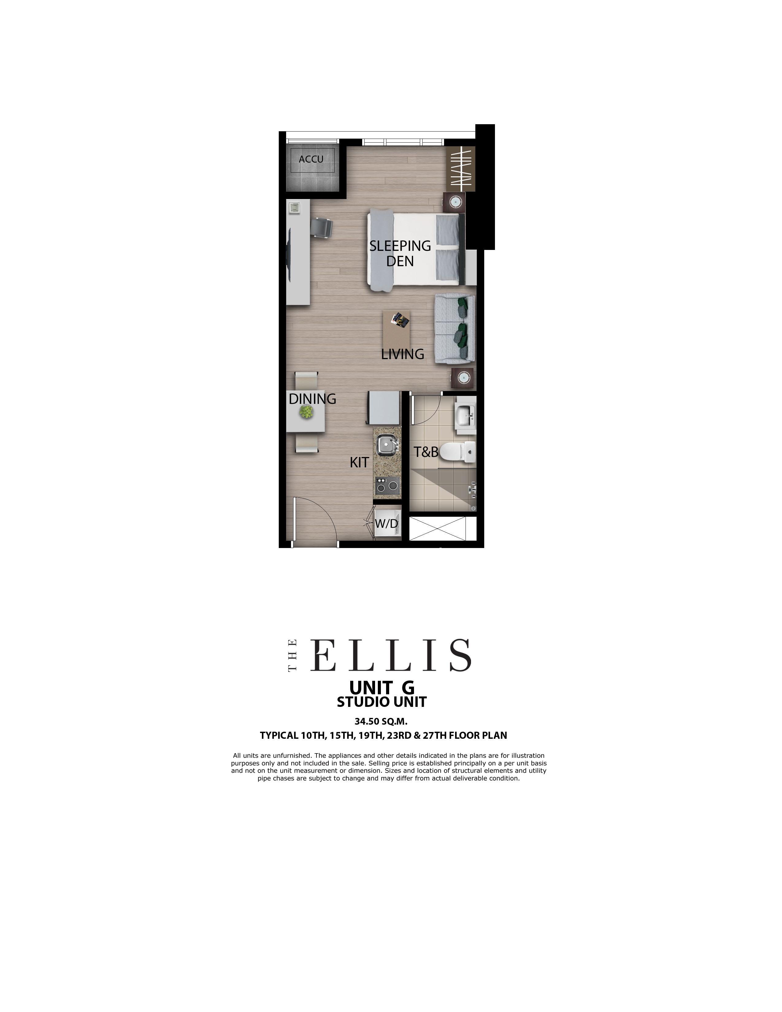 The Ellis Studio 34.5 SQM w/o Balcony
