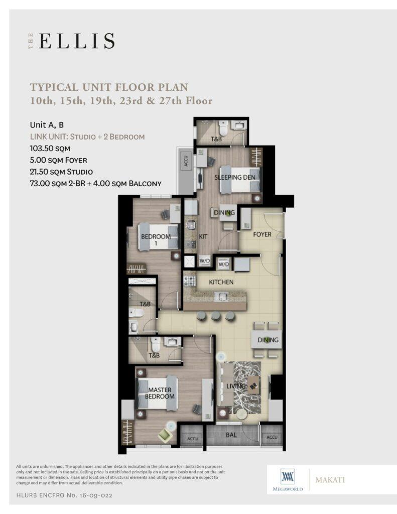 The Ellis 2 Bedroom + Studio Link Unit